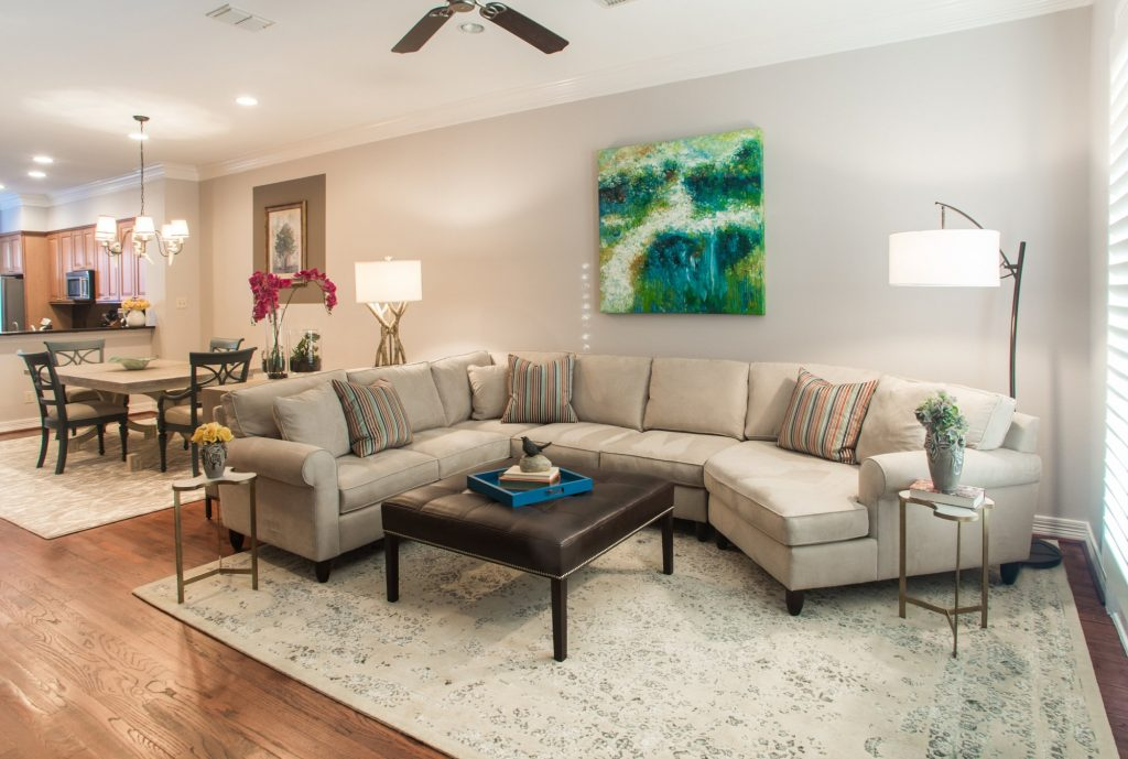 dallas living room with sectional and coffee table