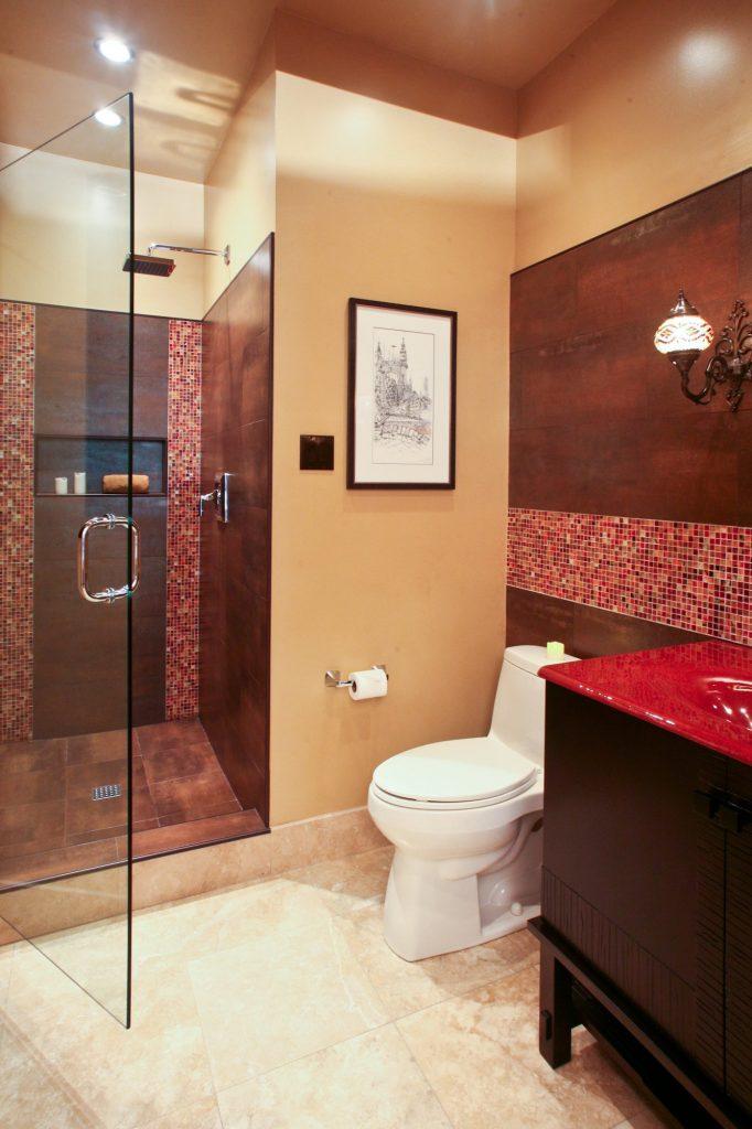 terri morgan designs red bathroom