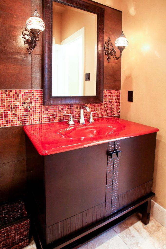 texas interior design - red bathroom