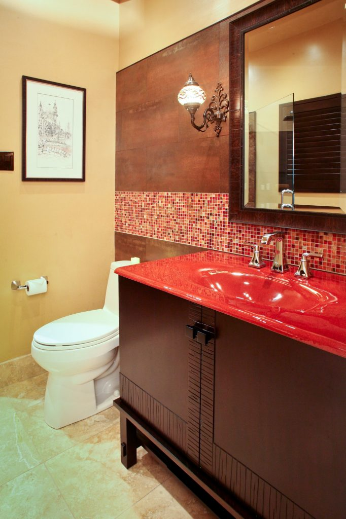 red bathroom design