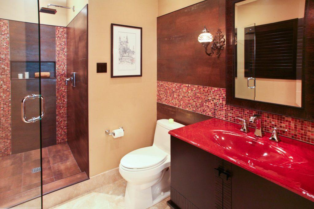 red bathroom in dallas