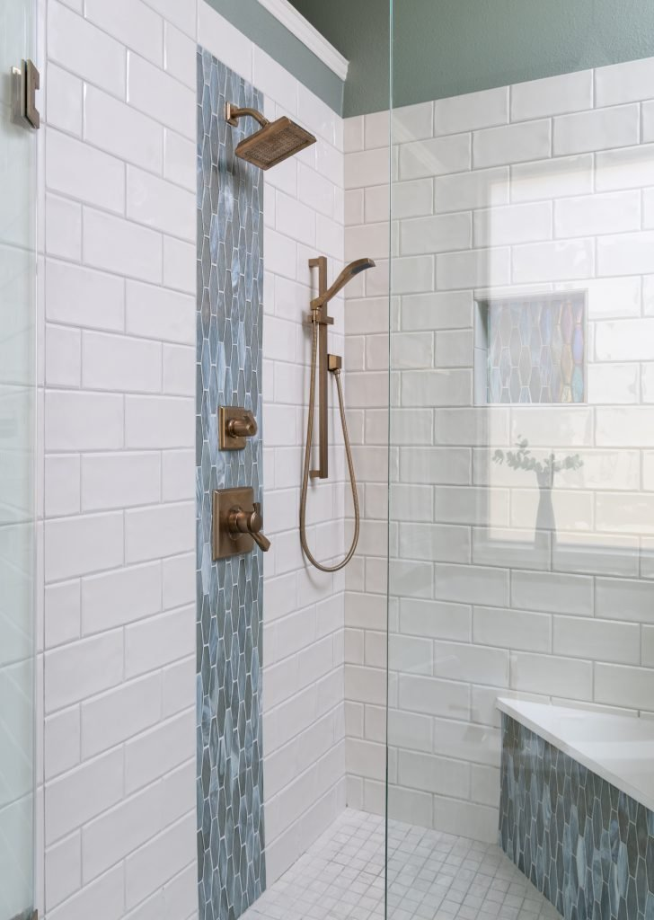 white shower with pretty tile