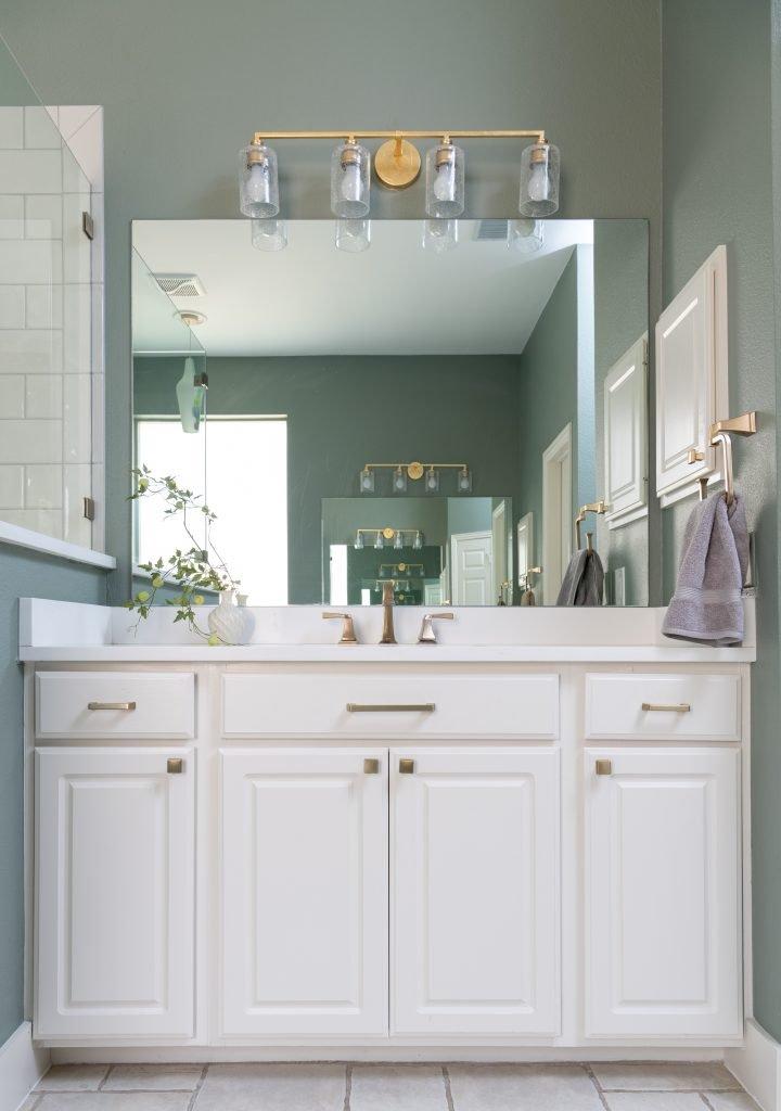 master bathroom white vanity