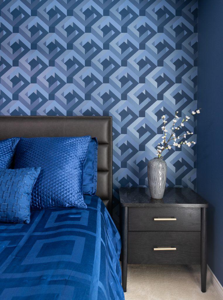 bright blue bedroom design