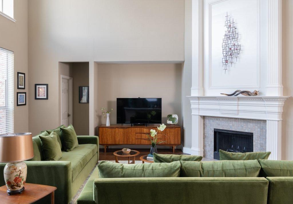 terri morgan design green upholstery sofa