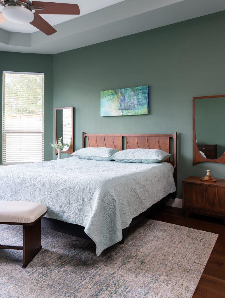 modern green bedroom design in dallas
